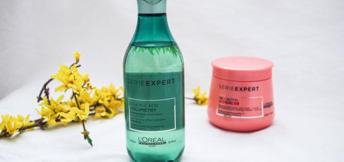 szampon Volumetry i maska do włosów inforcer na białym tle
